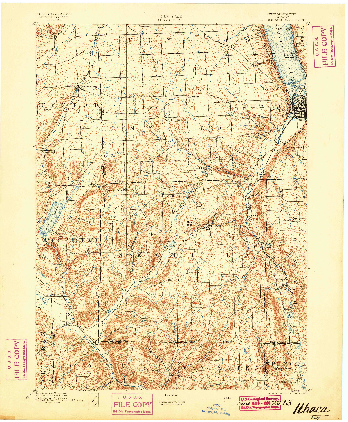 USGS 1:62500-SCALE QUADRANGLE FOR ITHACA, NY 1895