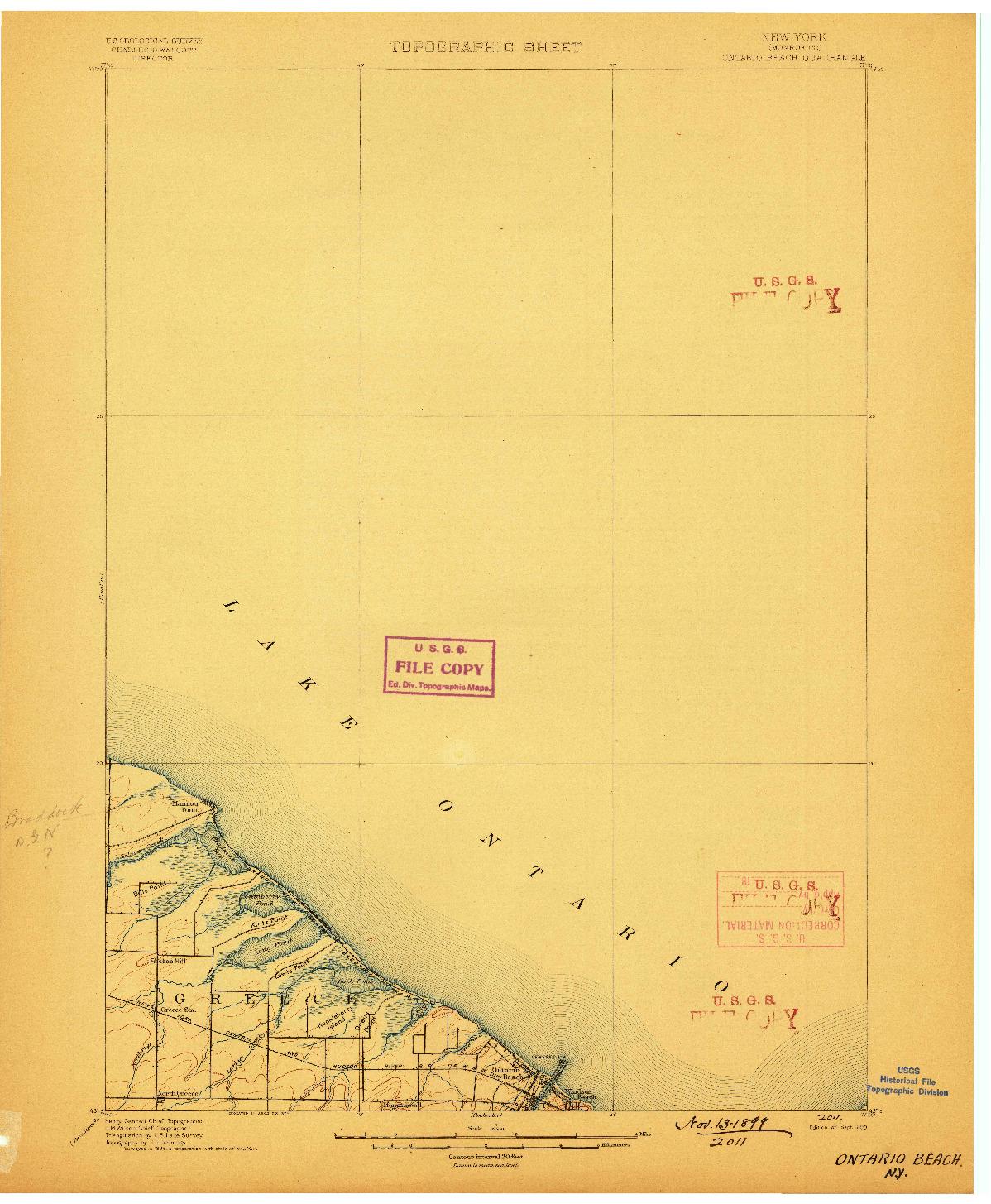 USGS 1:62500-SCALE QUADRANGLE FOR ONTARIO BEACH, NY 1899