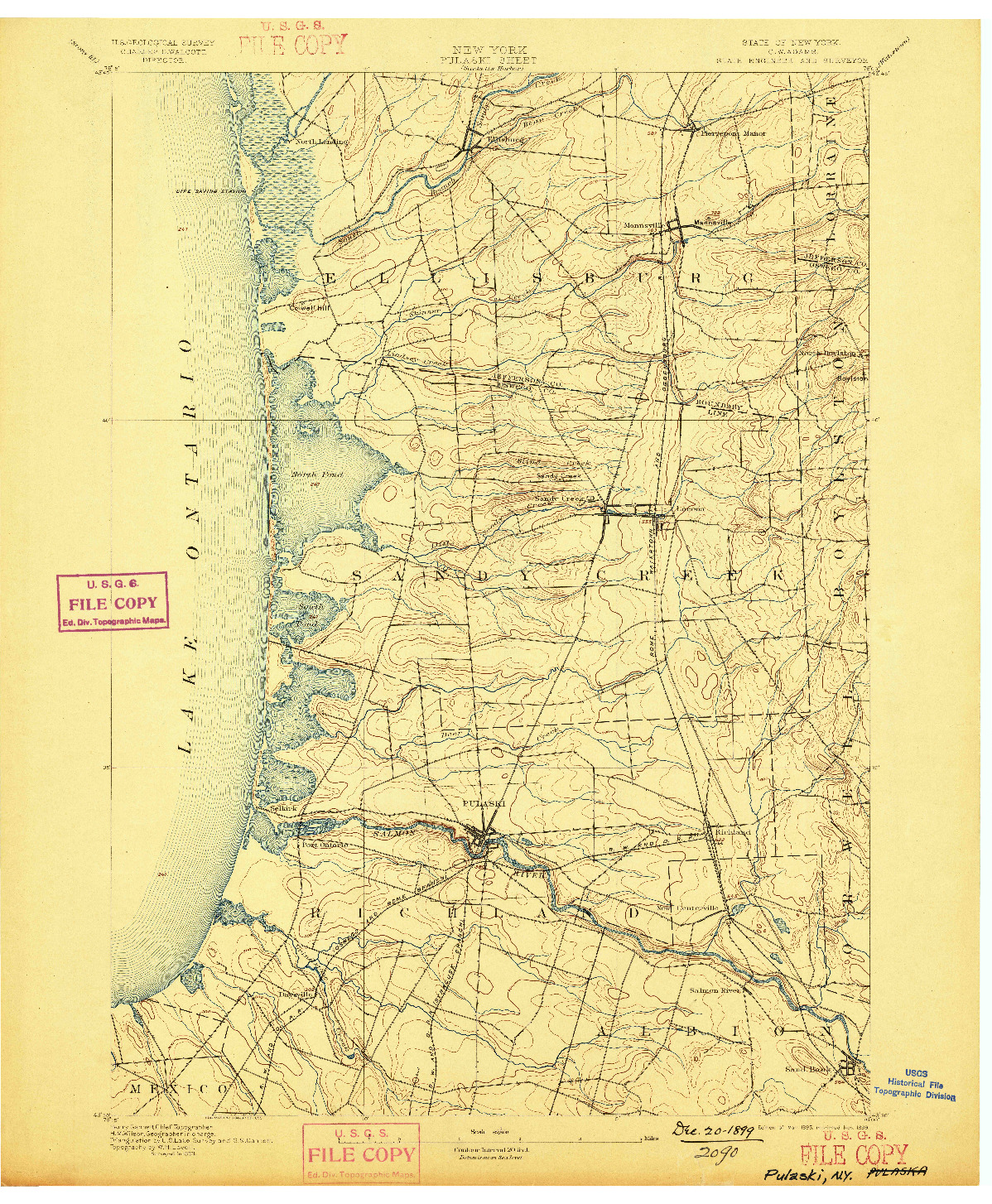 USGS 1:62500-SCALE QUADRANGLE FOR PULASKI, NY 1895