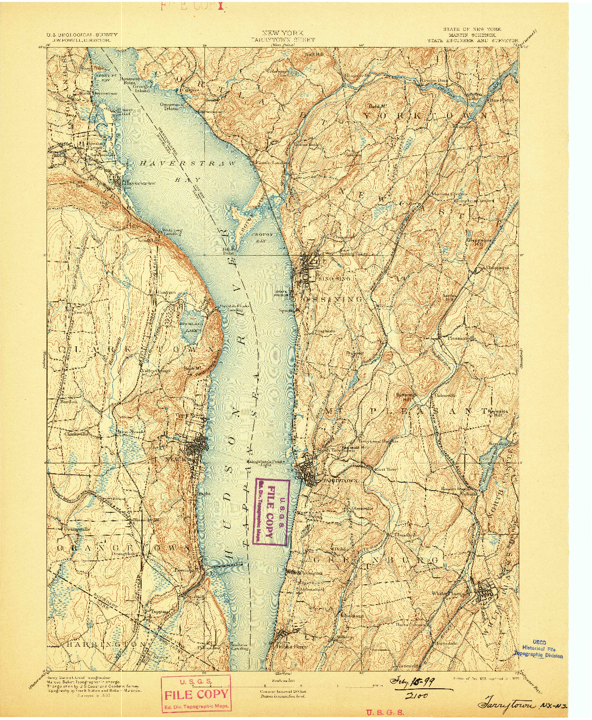 USGS 1:62500-SCALE QUADRANGLE FOR TARRYTOWN, NY 1893