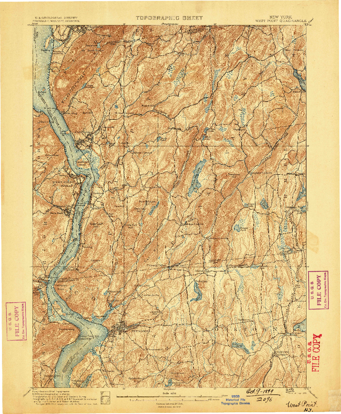 USGS 1:62500-SCALE QUADRANGLE FOR WEST POINT, NY 1899