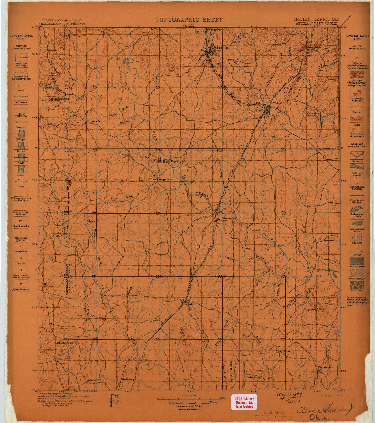 USGS 1:125000-SCALE QUADRANGLE FOR ATOKA, OK 1899