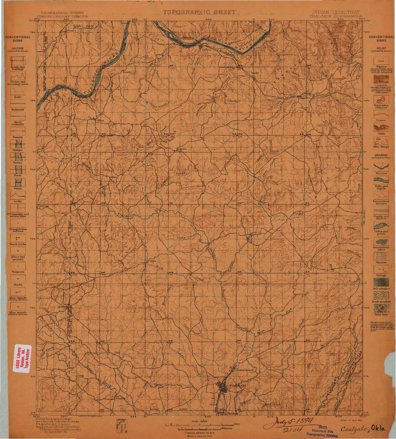 USGS 1:125000-SCALE QUADRANGLE FOR COALGATE, OK 1899