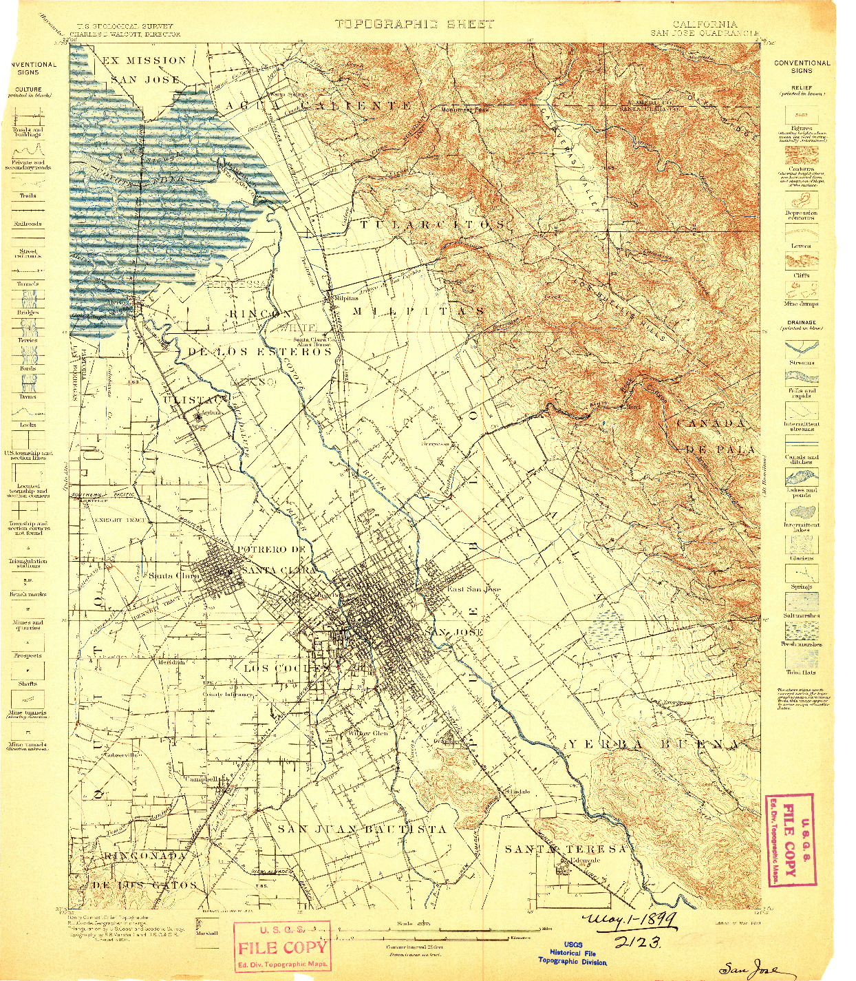 USGS 1:62500-SCALE QUADRANGLE FOR SAN JOSE, CA 1899