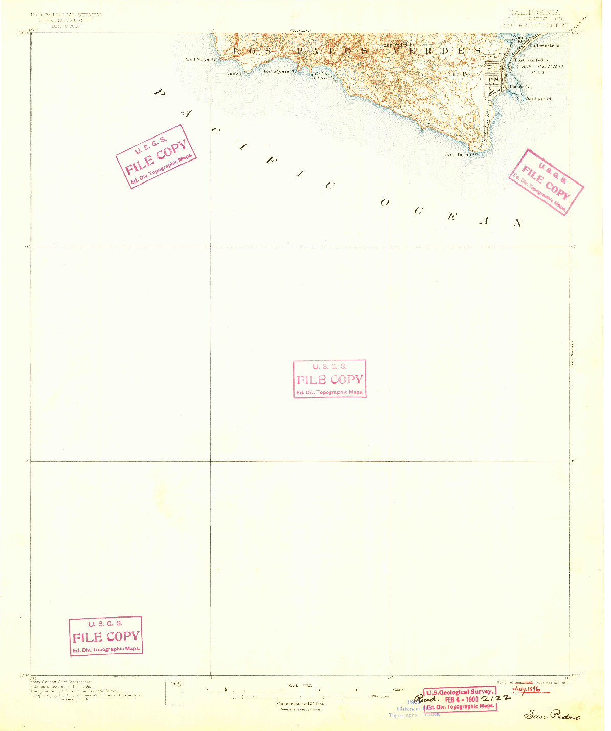 USGS 1:62500-SCALE QUADRANGLE FOR SAN PEDRO, CA 1896
