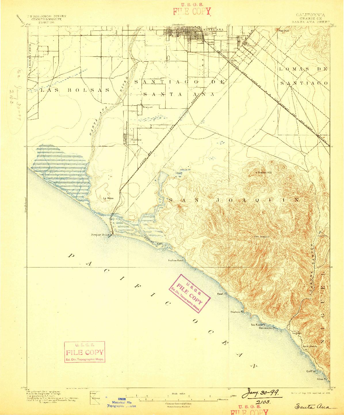 USGS 1:62500-SCALE QUADRANGLE FOR SANTA ANA, CA 1896
