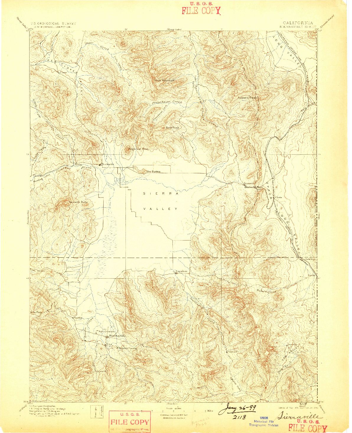 USGS 1:125000-SCALE QUADRANGLE FOR SIERRAVILLE, CA 1894