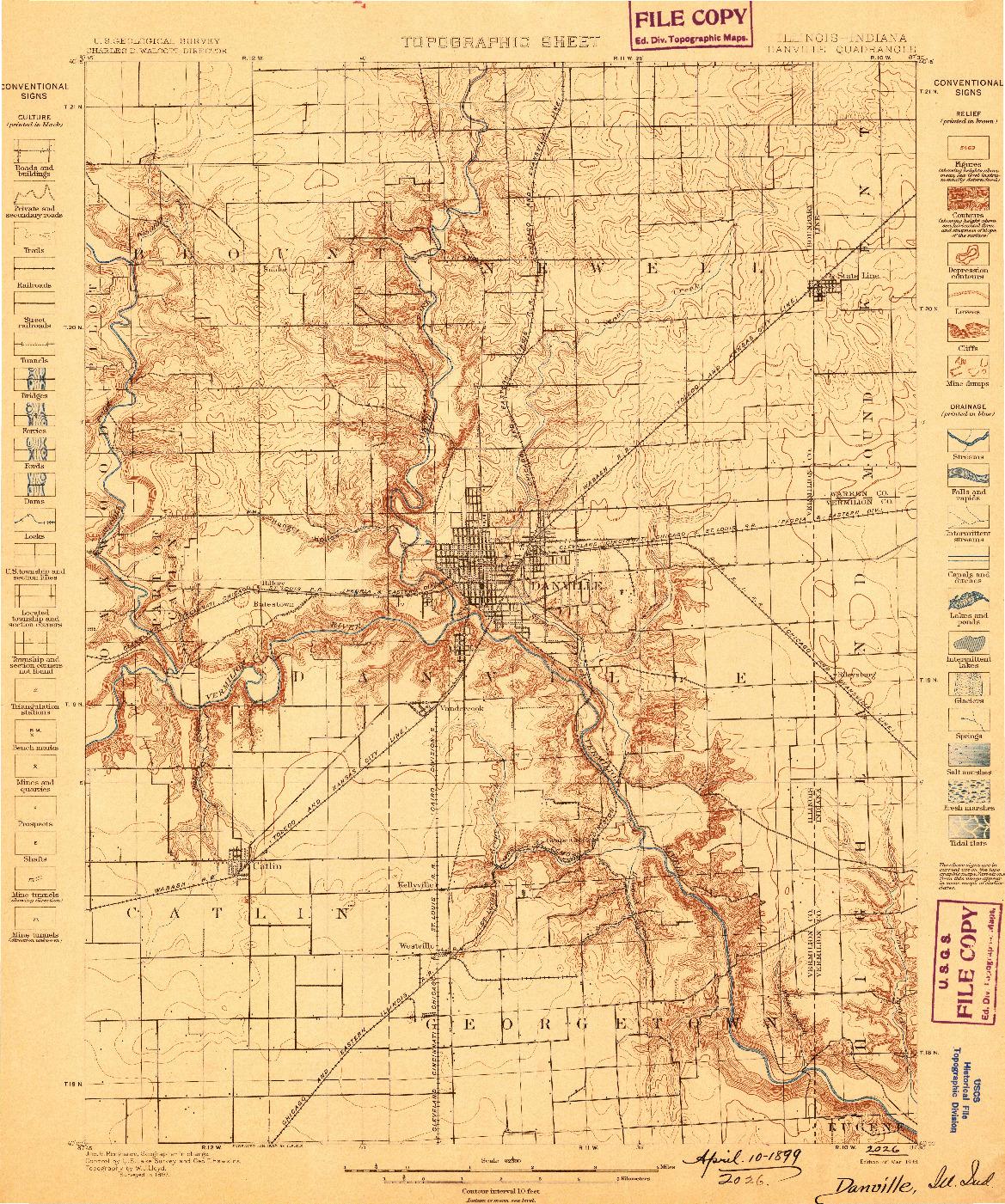 USGS 1:62500-SCALE QUADRANGLE FOR DANVILLE, IL 1899