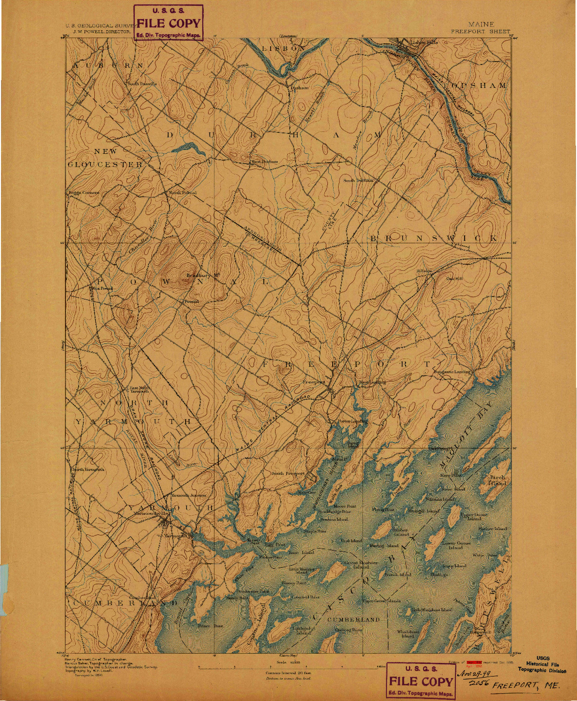 USGS 1:62500-SCALE QUADRANGLE FOR FREEPORT, ME 1892