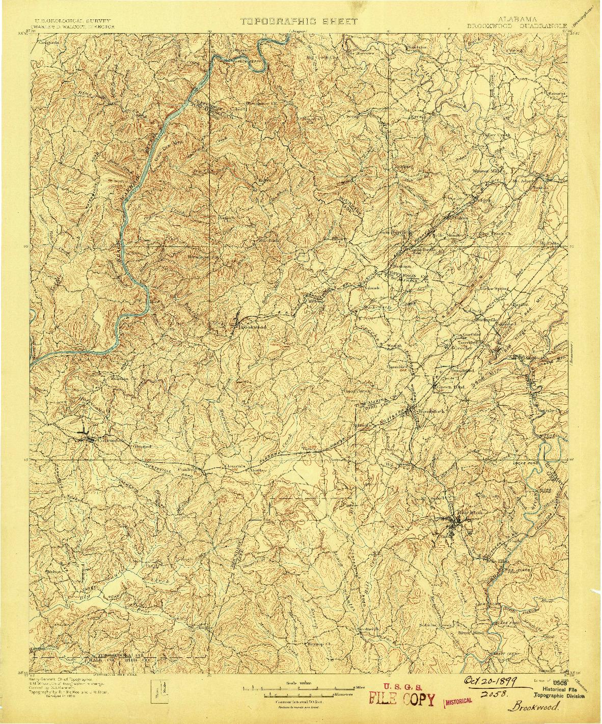USGS 1:125000-SCALE QUADRANGLE FOR BROOKWOOD, AL 1899