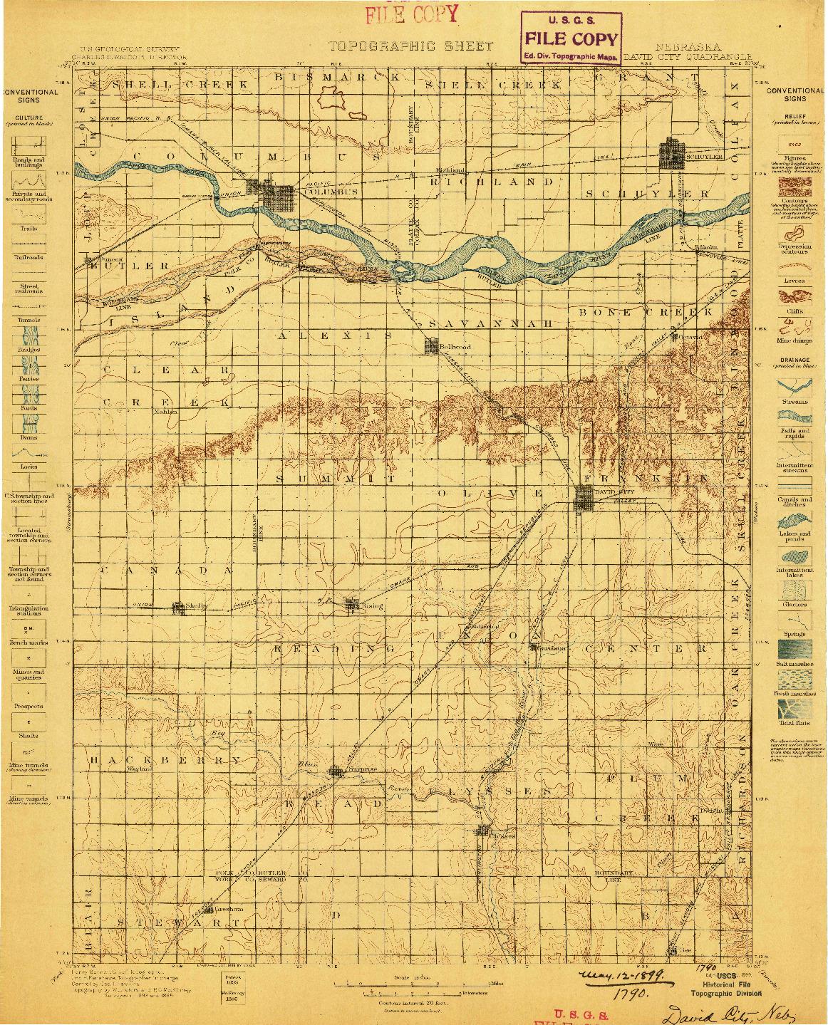 USGS 1:125000-SCALE QUADRANGLE FOR DAVID CITY, NE 1899