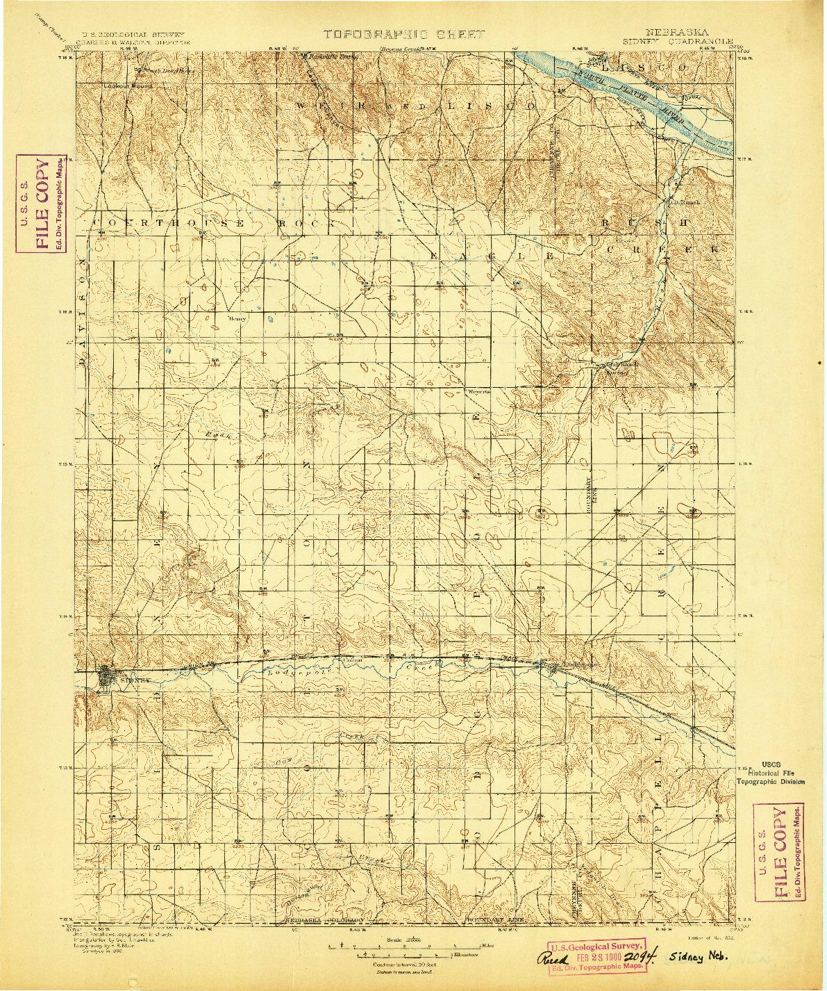 USGS 1:125000-SCALE QUADRANGLE FOR SIDNEY, NE 1899