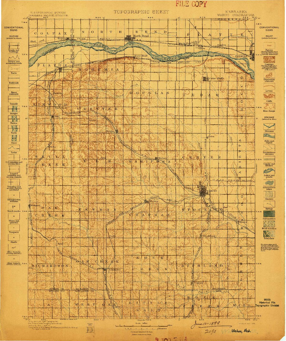 USGS 1:125000-SCALE QUADRANGLE FOR WAHOO, NE 1899