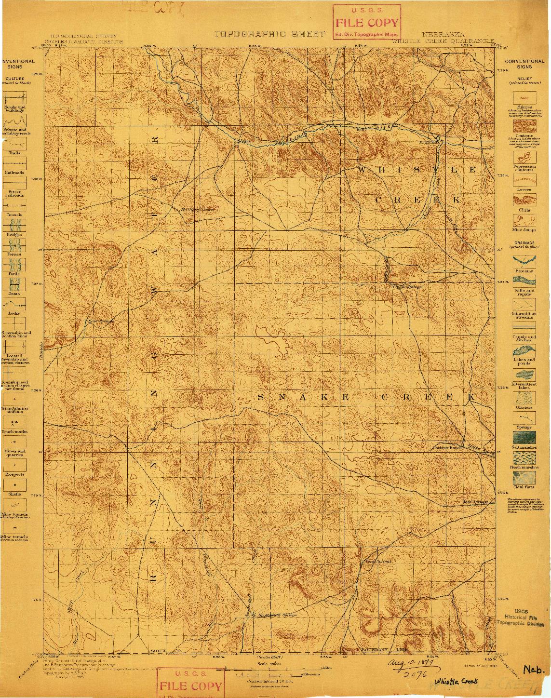 USGS 1:125000-SCALE QUADRANGLE FOR WHISTLE CREEK, NE 1899