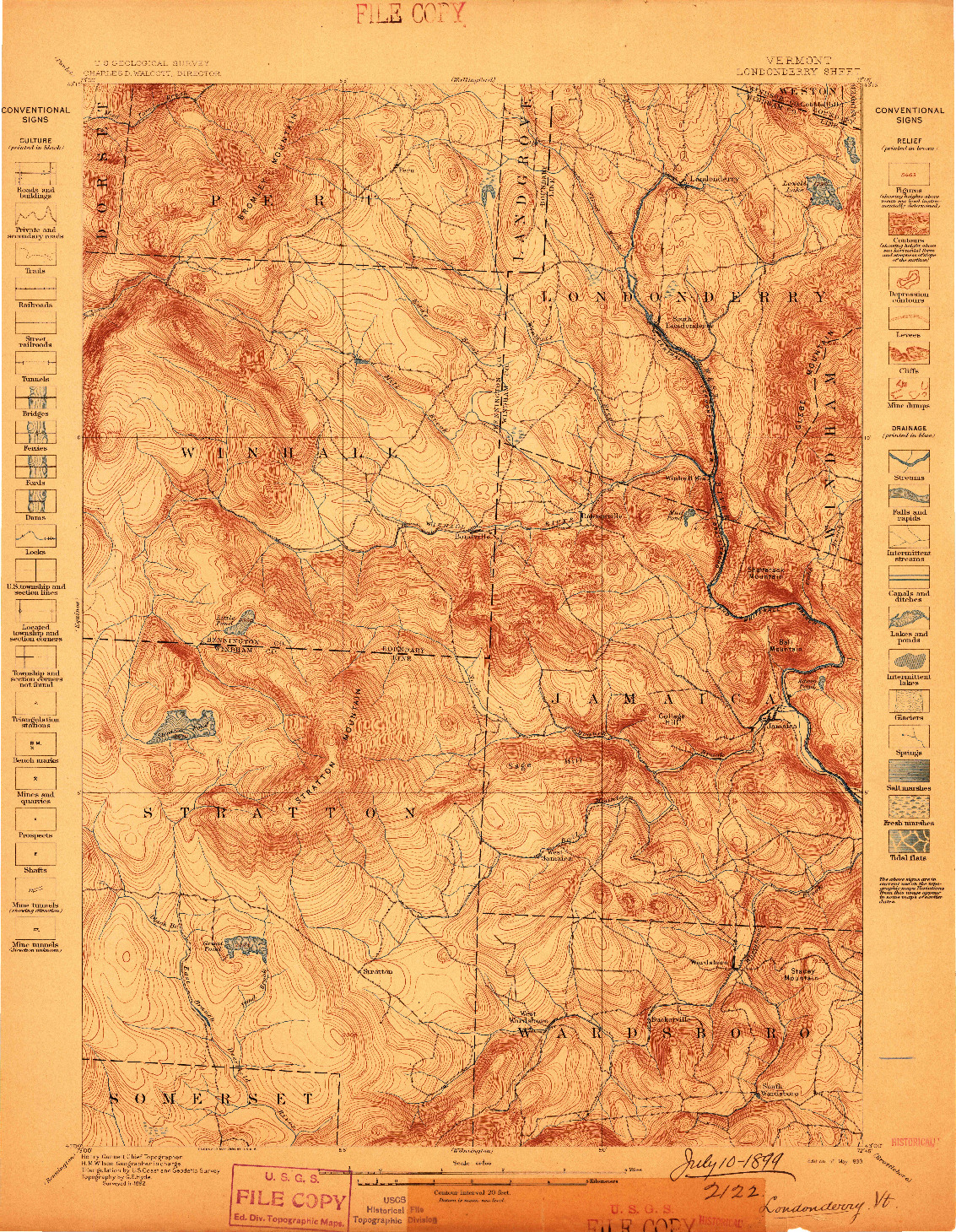 USGS 1:62500-SCALE QUADRANGLE FOR LONDONDERRY, VT 1899