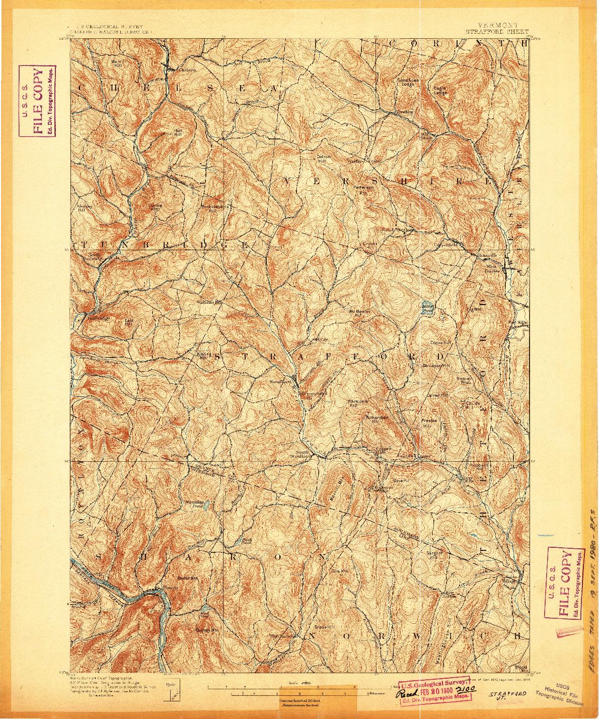 USGS 1:62500-SCALE QUADRANGLE FOR STRAFFORD, VT 1896