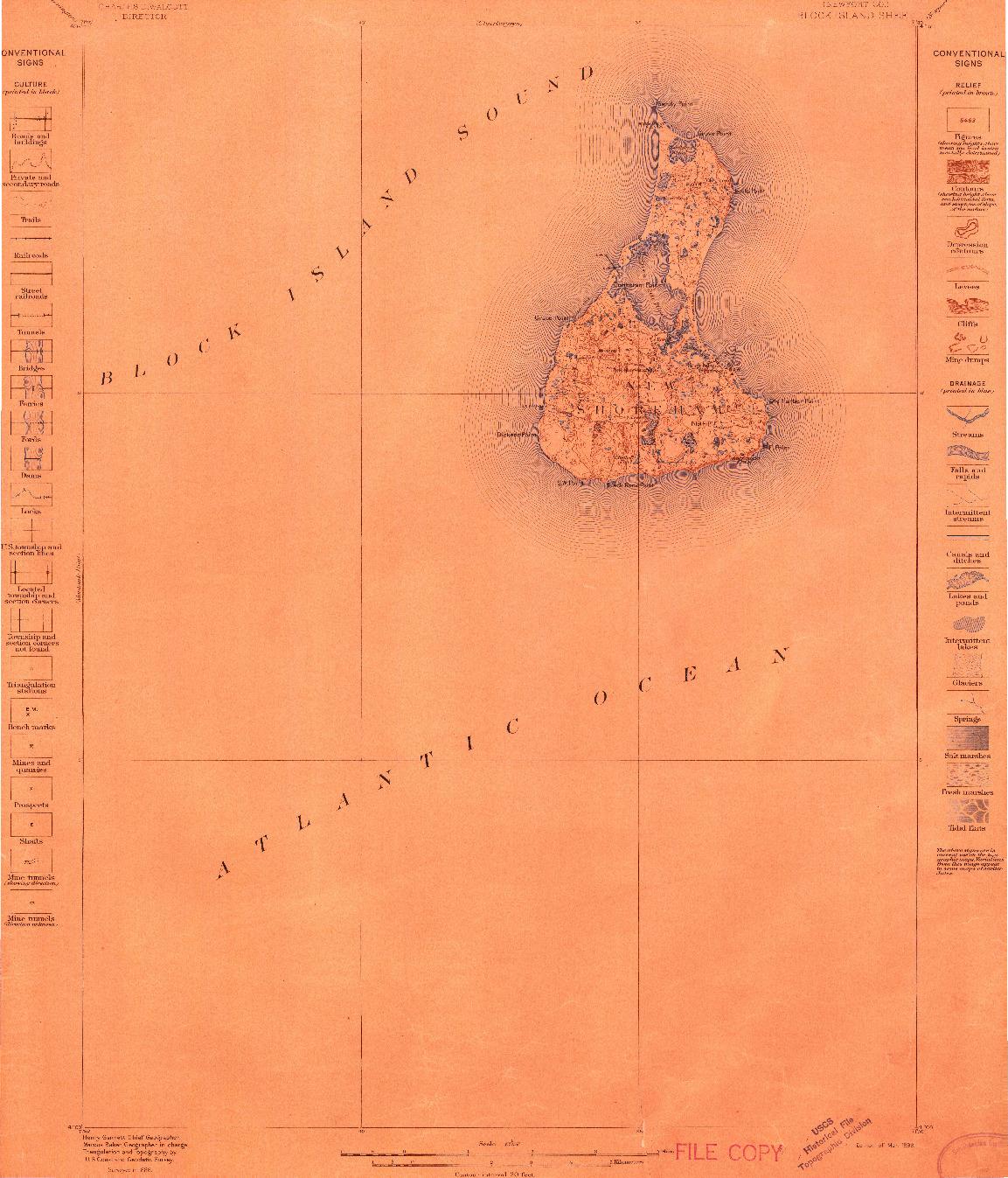USGS 1:62500-SCALE QUADRANGLE FOR BLOCK ISLAND, RI 1899