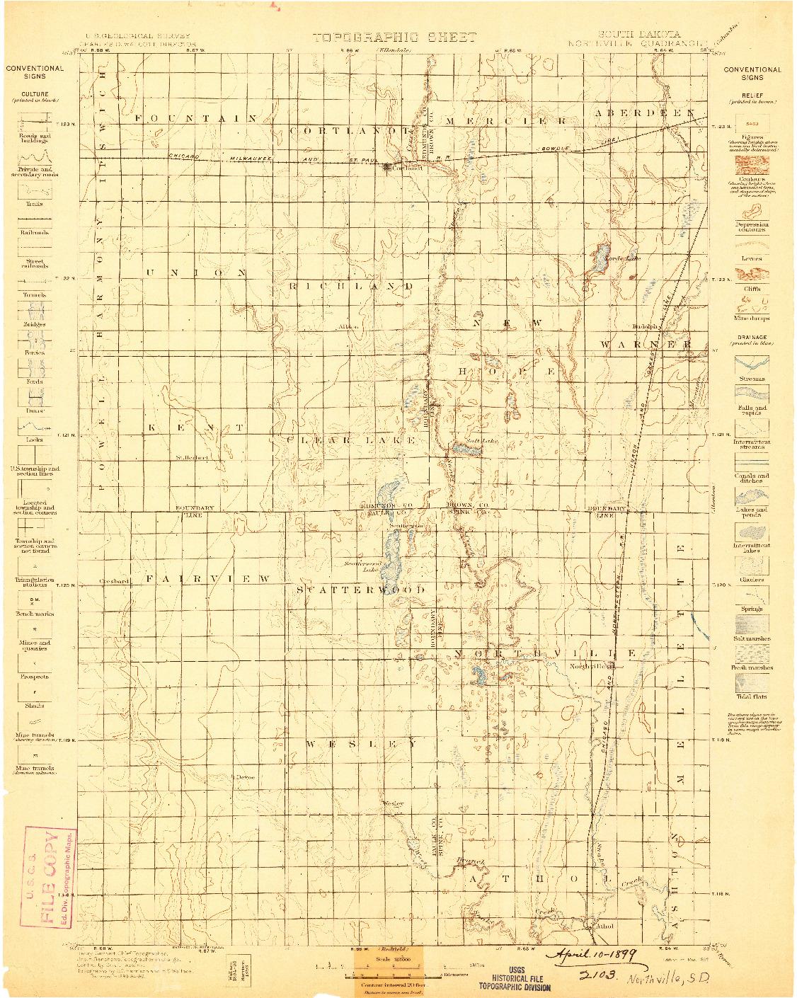 USGS 1:125000-SCALE QUADRANGLE FOR NORTHVILLE, SD 1899