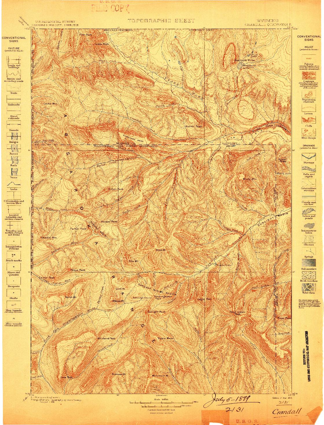 USGS 1:125000-SCALE QUADRANGLE FOR CRANDALL, WY 1899