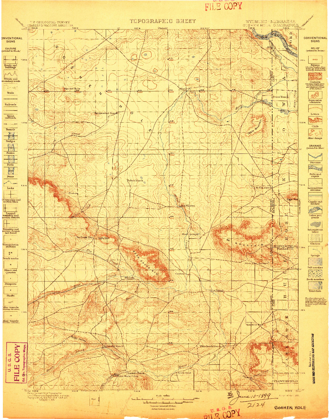 USGS 1:125000-SCALE QUADRANGLE FOR GOSHEN HOLE, WY 1899