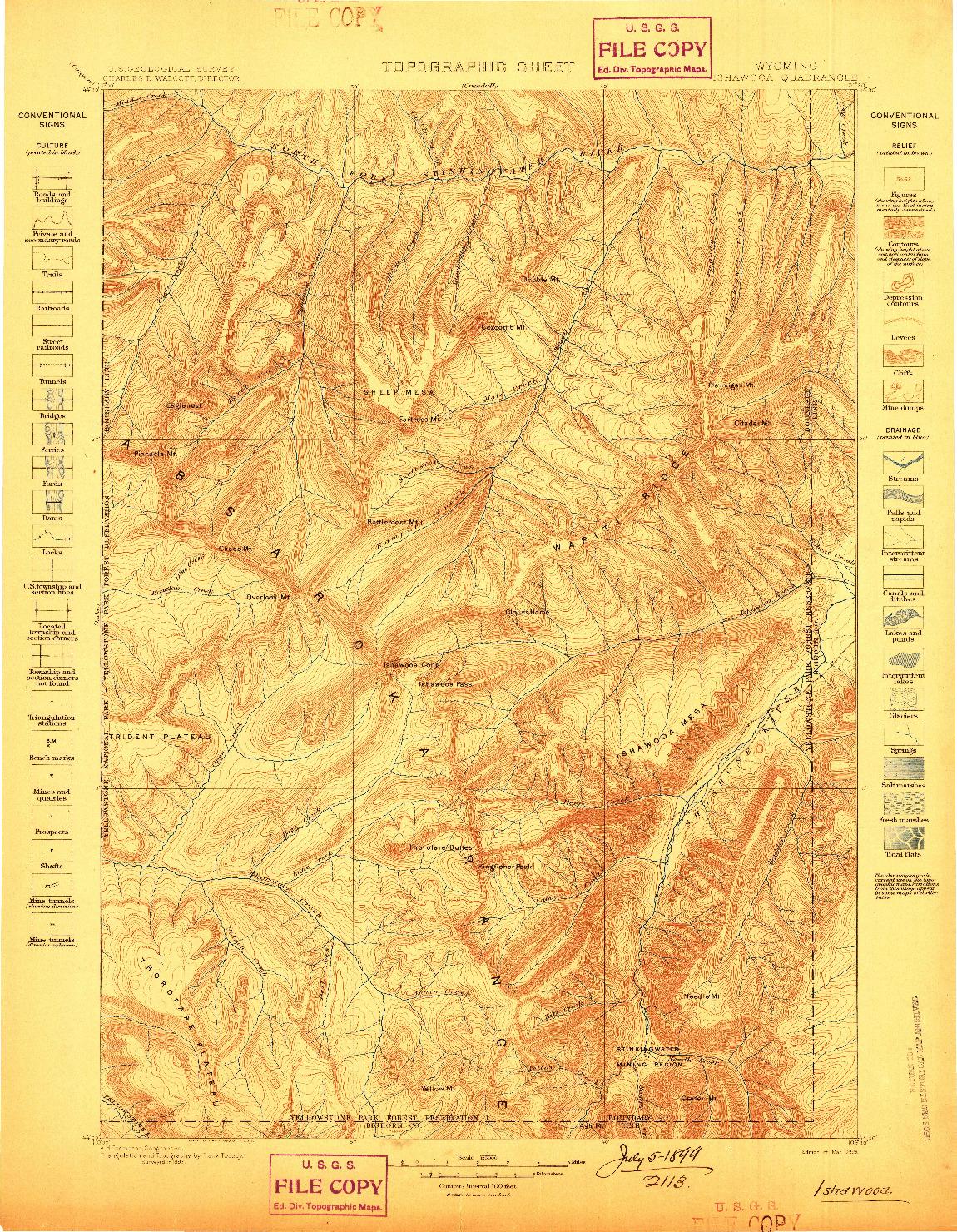 USGS 1:125000-SCALE QUADRANGLE FOR ISHAWOOA, WY 1899