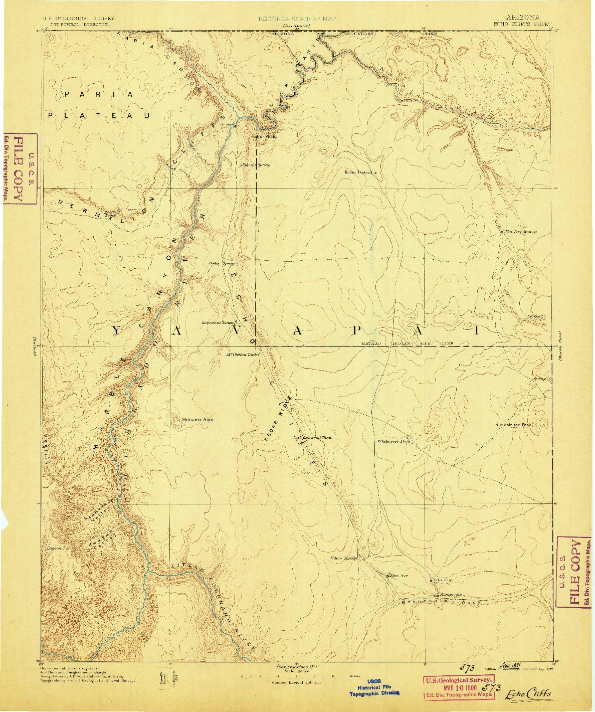 USGS 1:250000-SCALE QUADRANGLE FOR ECHO CLIFFS, AZ 1886
