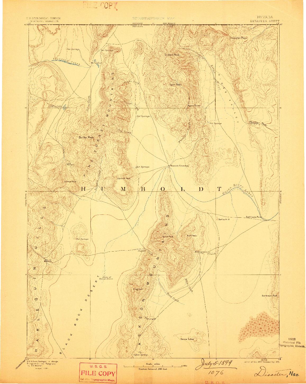 USGS 1:250000-SCALE QUADRANGLE FOR DISASTER, NV 1893