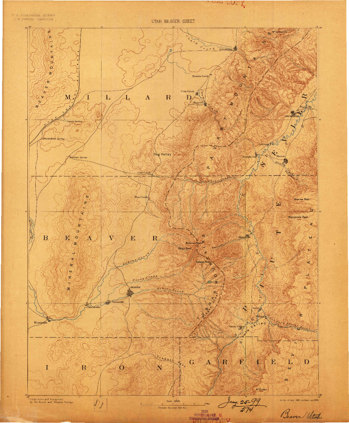 USGS 1:250000-SCALE QUADRANGLE FOR BEAVER, UT 1885