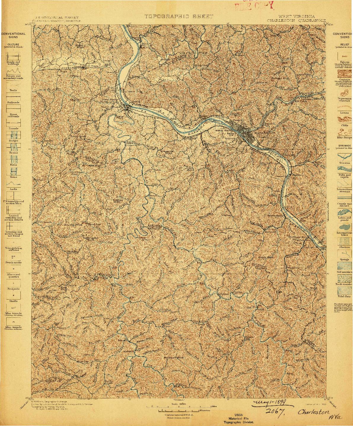 USGS 1:125000-SCALE QUADRANGLE FOR CHARLESTON, WV 1899