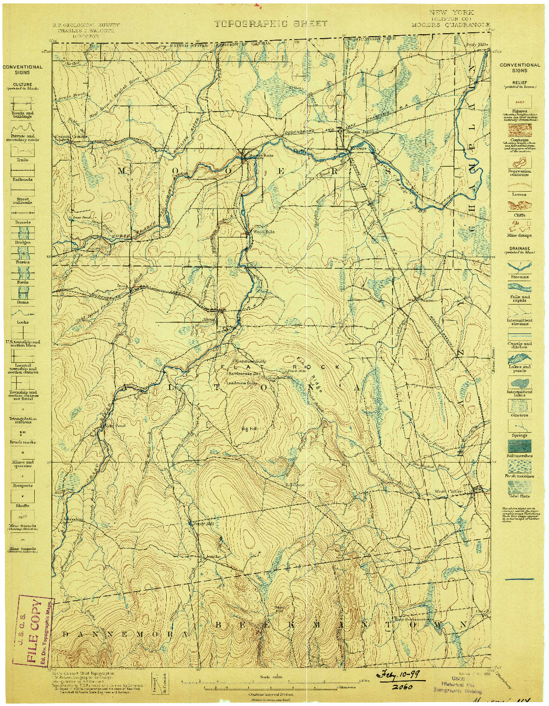 USGS 1:62500-SCALE QUADRANGLE FOR MOOERS, NY 1899
