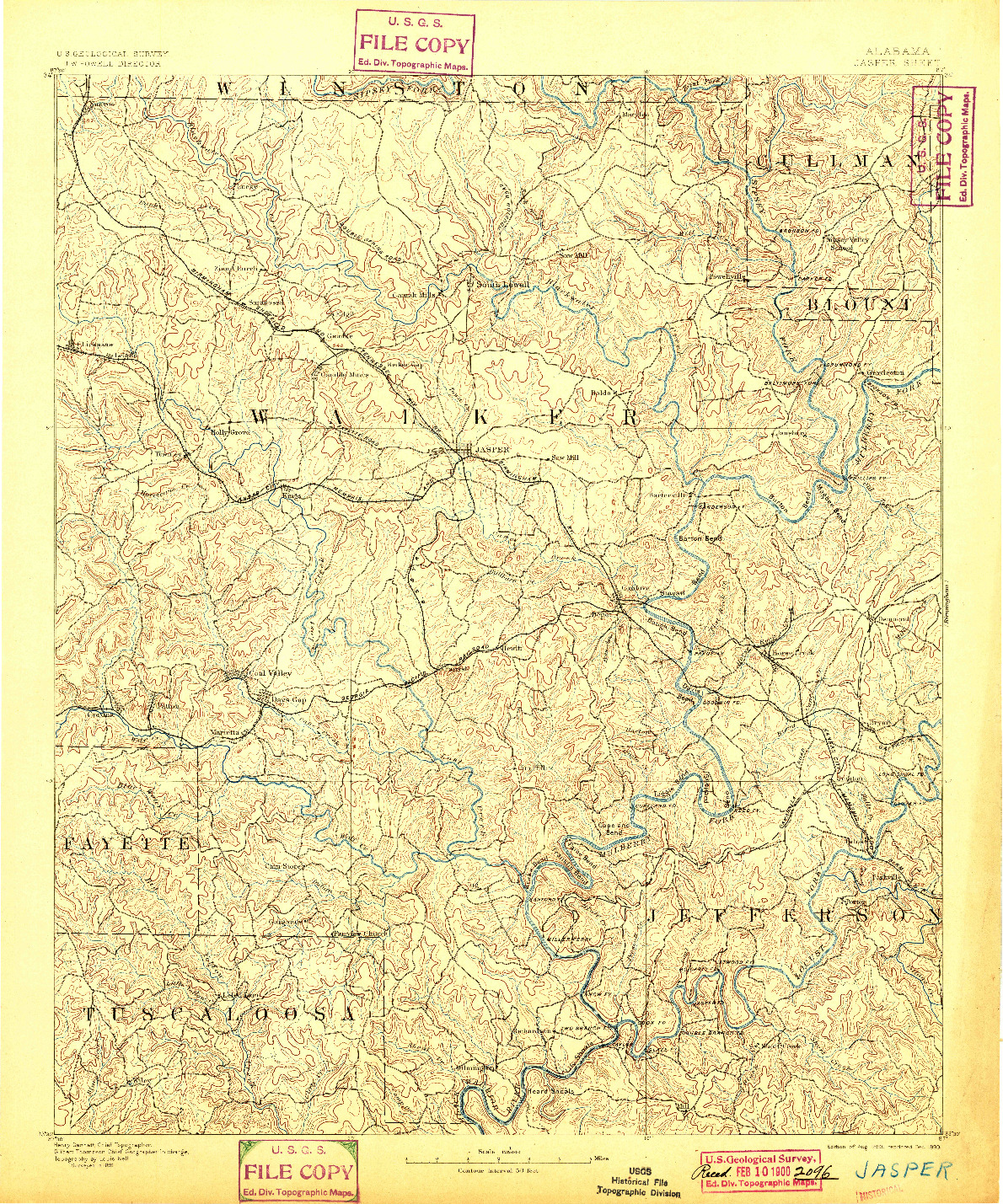 USGS 1:125000-SCALE QUADRANGLE FOR JASPER, AL 1893