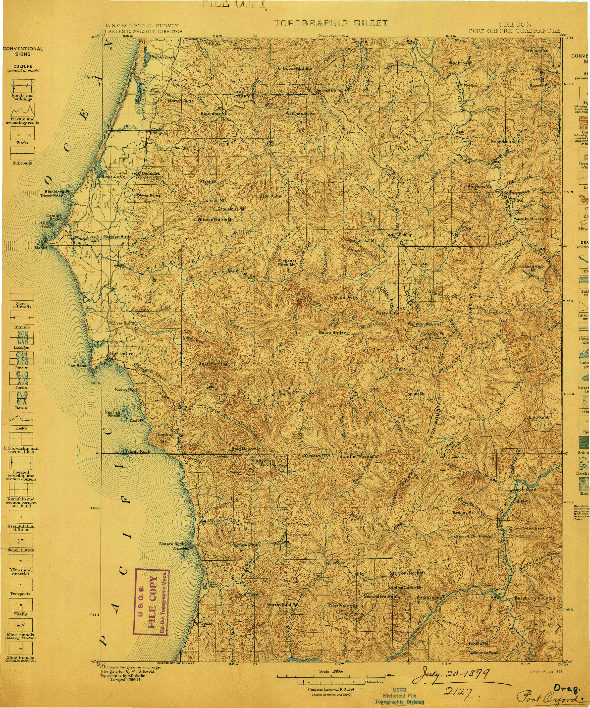 USGS 1:125000-SCALE QUADRANGLE FOR PORT ORFORD, OR 1899