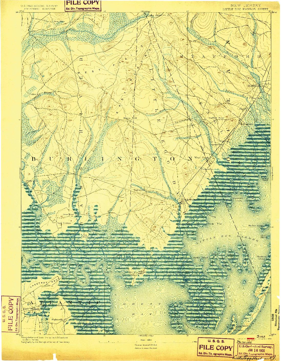 USGS 1:62500-SCALE QUADRANGLE FOR LITTLE EGG HARBOR, NJ 1893