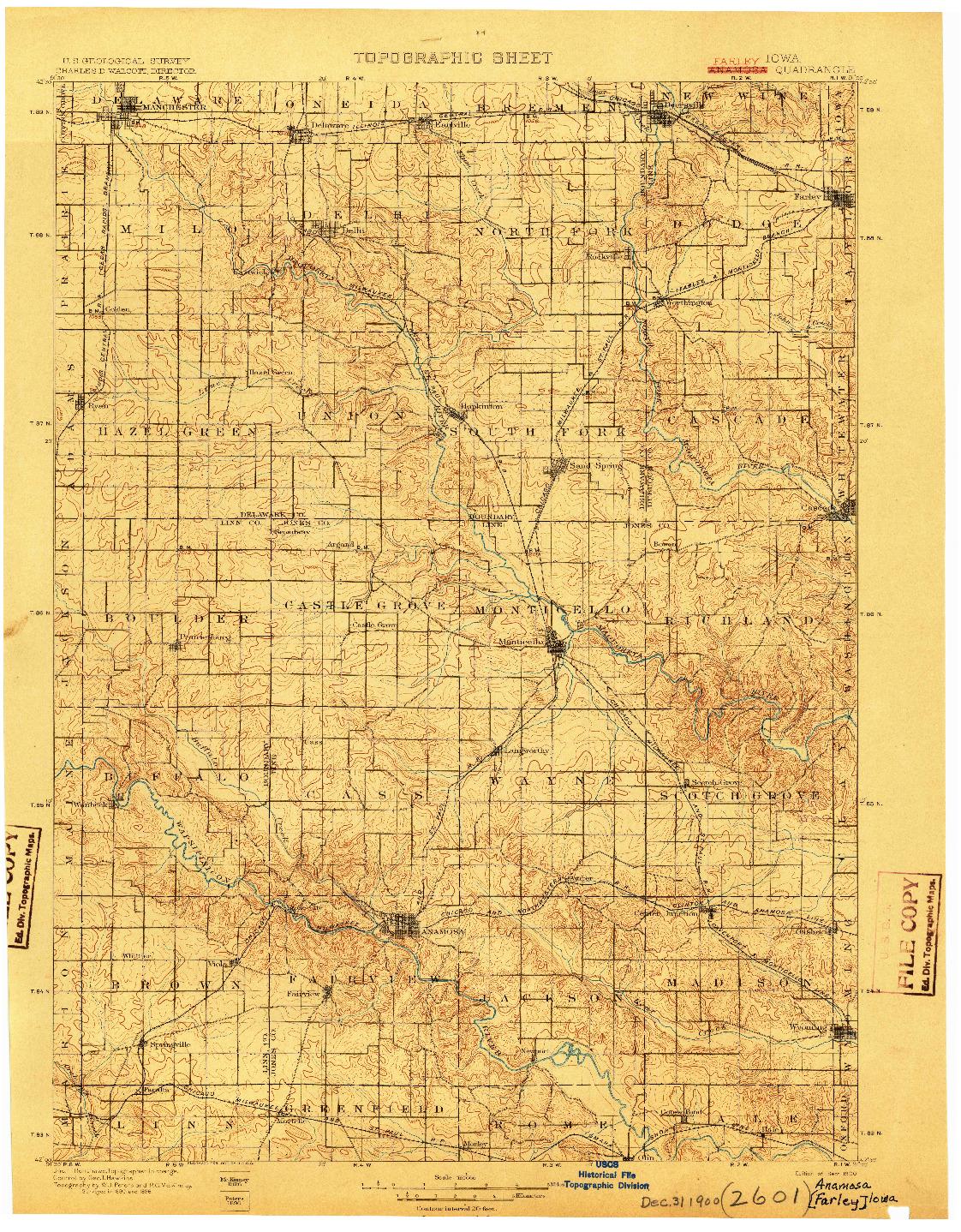 USGS 1:125000-SCALE QUADRANGLE FOR ANAMOSA, IA 1900