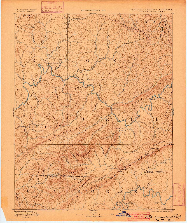 USGS 1:125000-SCALE QUADRANGLE FOR CUMBERLAND GAP, KY 1891