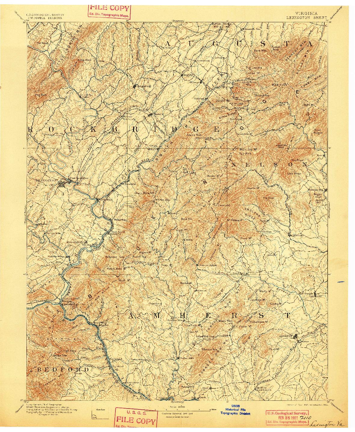USGS 1:125000-SCALE QUADRANGLE FOR LEXINGTON, VA 1894