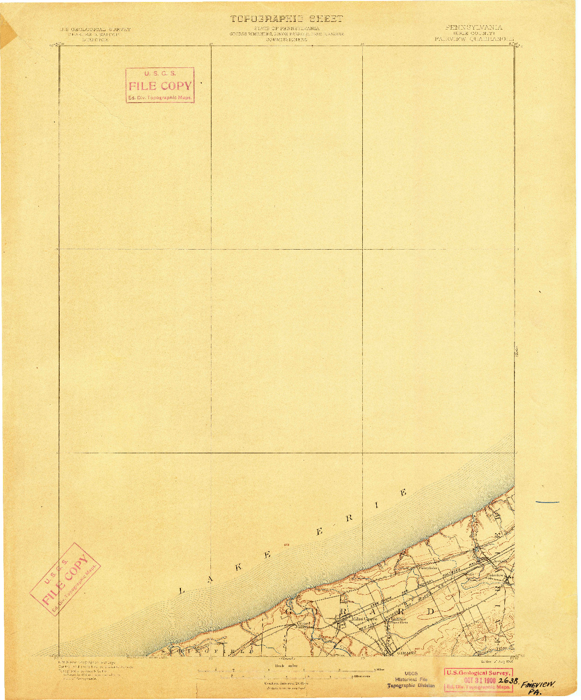 USGS 1:62500-SCALE QUADRANGLE FOR FAIRVIEW, PA 1900