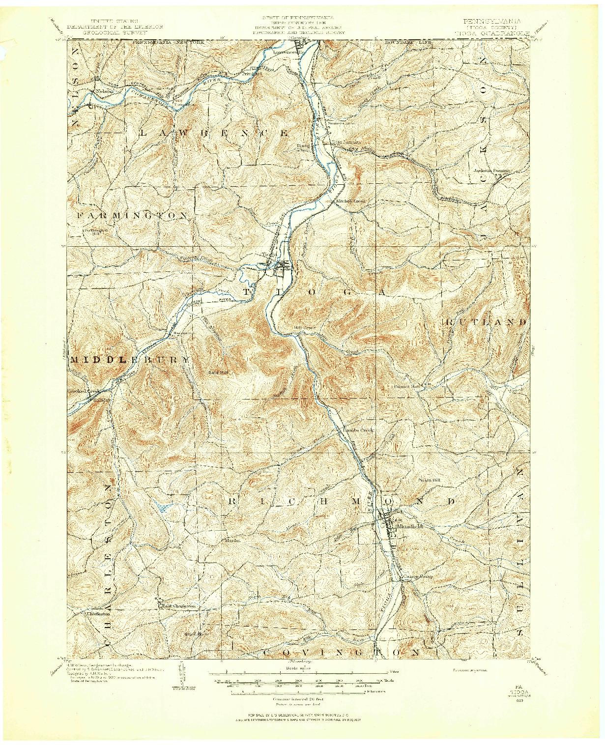 USGS 1:62500-SCALE QUADRANGLE FOR TIOGA, PA 1900