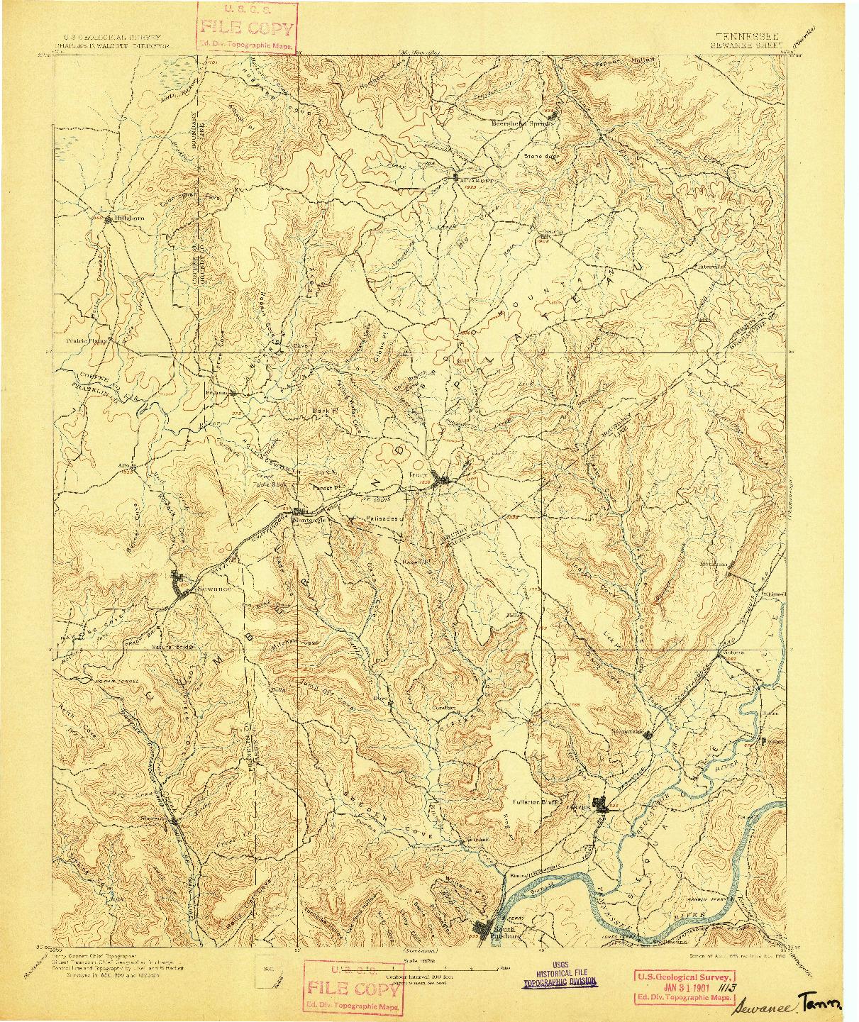 USGS 1:125000-SCALE QUADRANGLE FOR SEWANEE, TN 1895