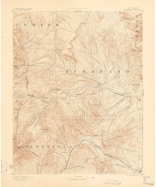 USGS 1:125000-SCALE QUADRANGLE FOR HUERFANO PARK, CO 1892
