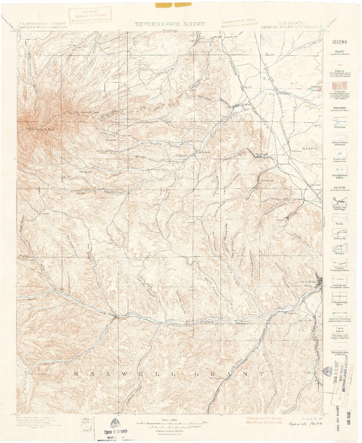 USGS 1:125000-SCALE QUADRANGLE FOR SPANISH PEAKS, CO 1900