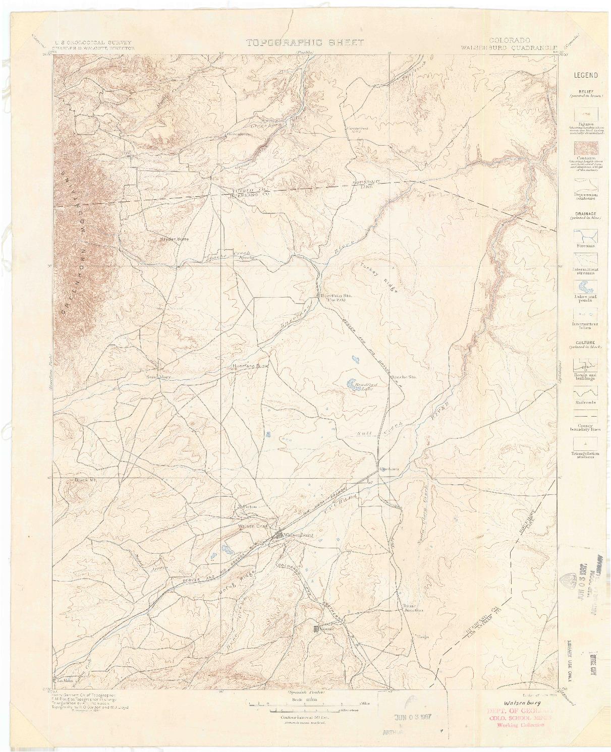 USGS 1:125000-SCALE QUADRANGLE FOR WALSENBURG, CO 1900