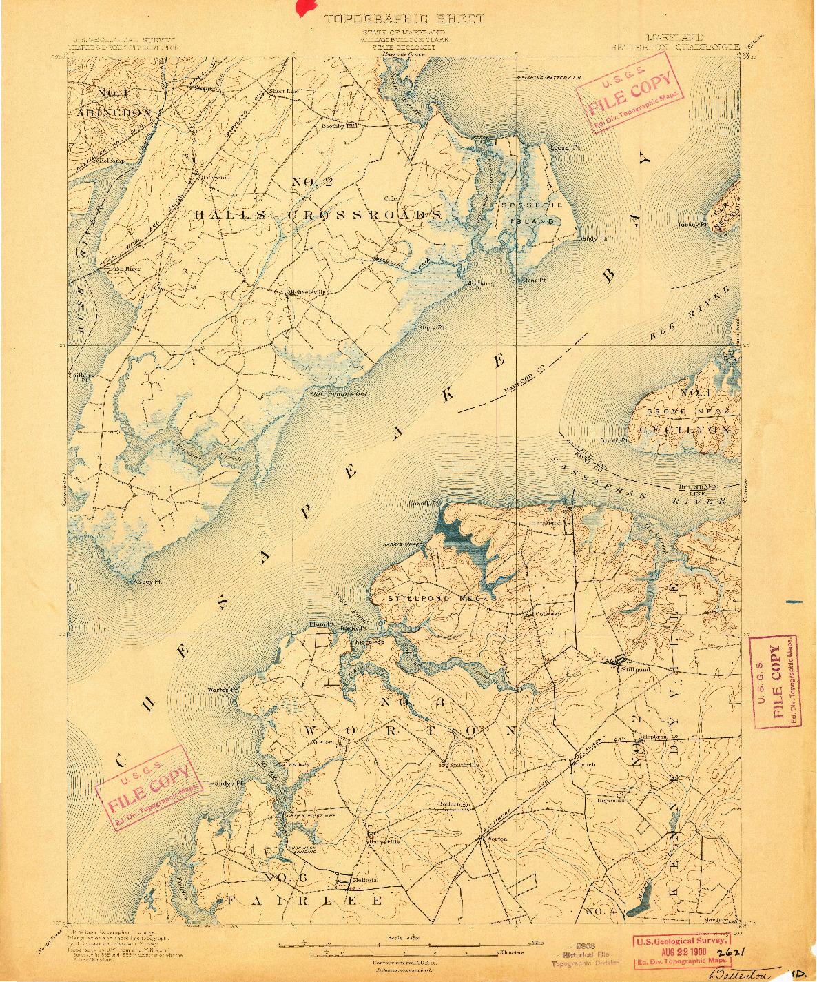 USGS 1:62500-SCALE QUADRANGLE FOR BETTERTON, MD 1900