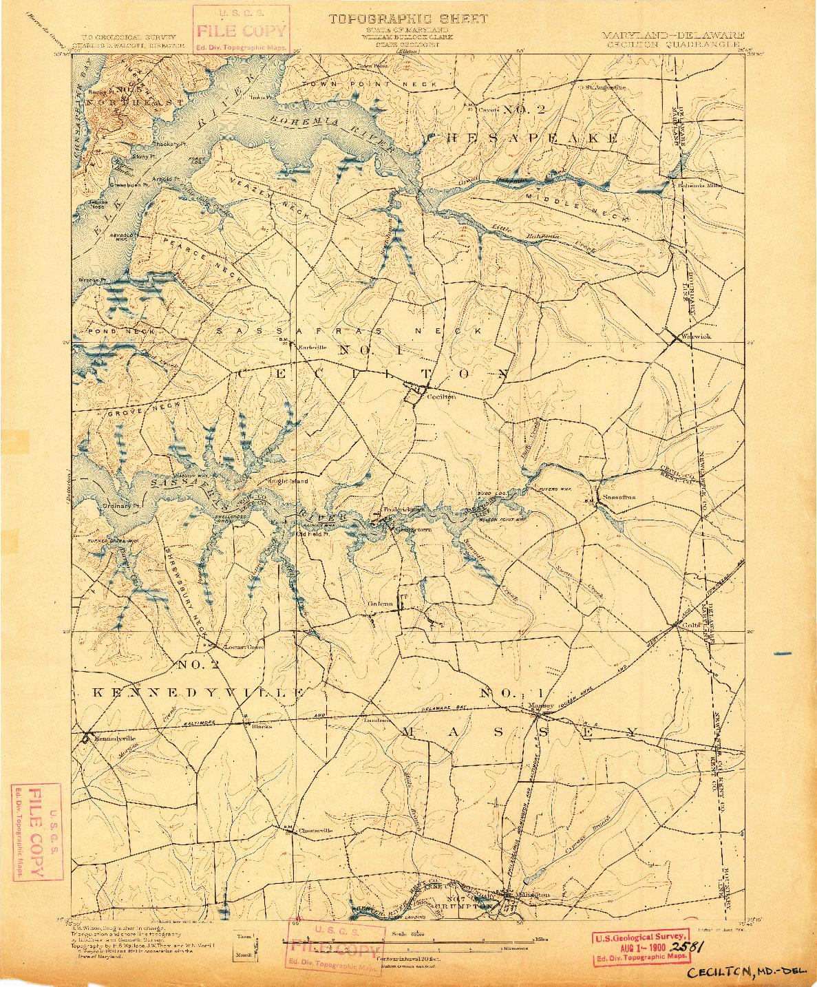 USGS 1:62500-SCALE QUADRANGLE FOR CECILTON, MD 1900