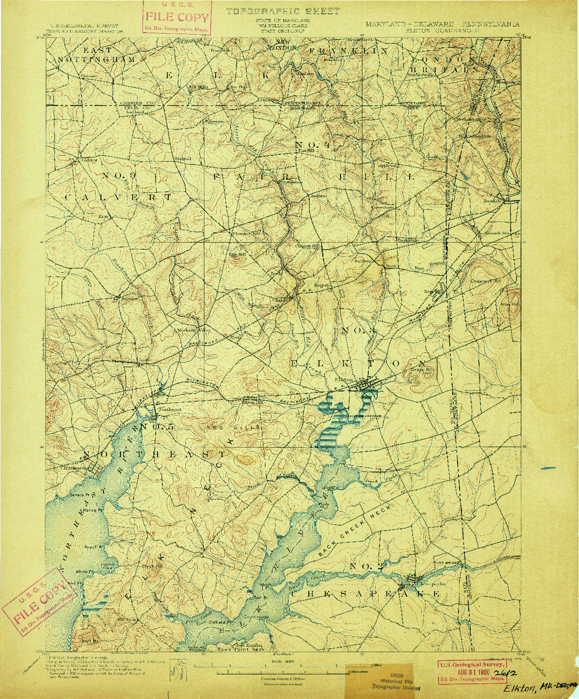 USGS 1:62500-SCALE QUADRANGLE FOR ELKTON, MD 1900