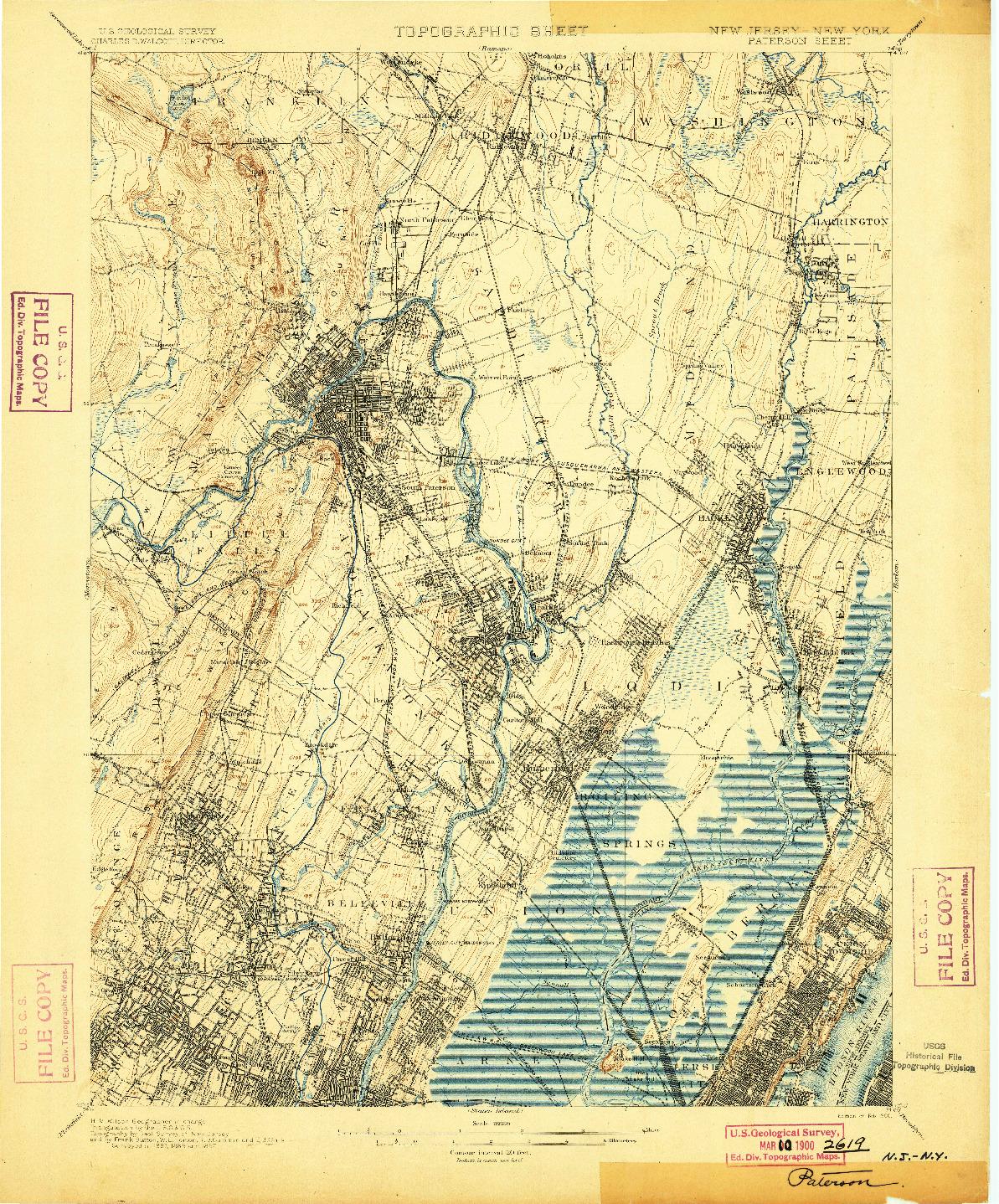 USGS 1:62500-SCALE QUADRANGLE FOR PATERSON, NJ 1900