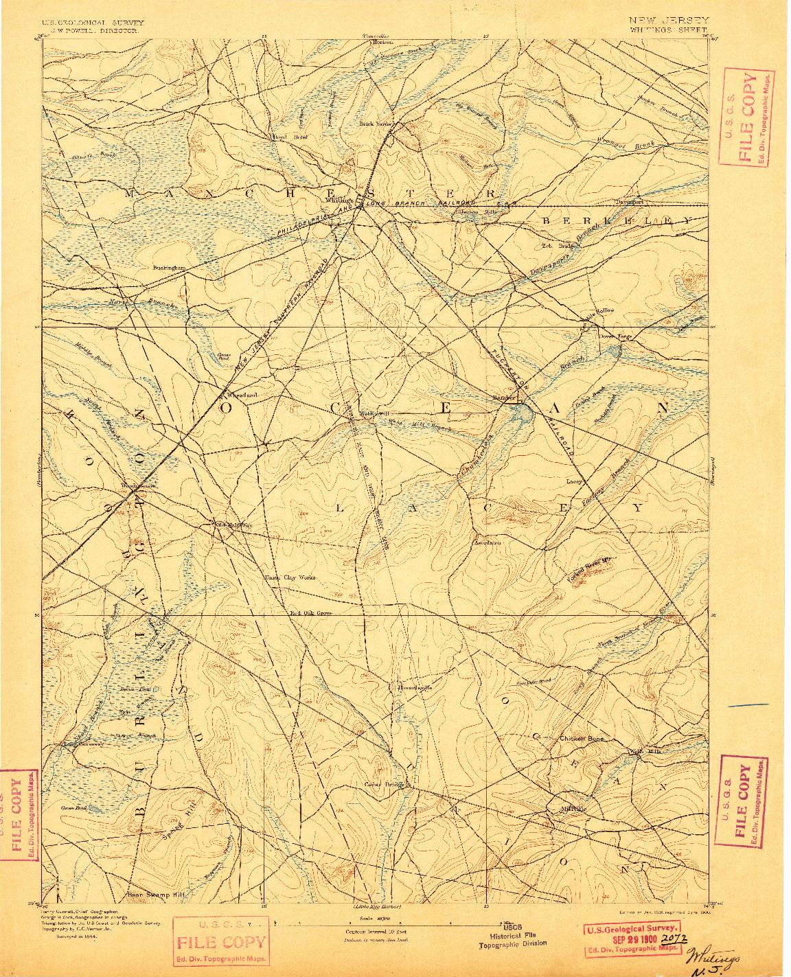 USGS 1:62500-SCALE QUADRANGLE FOR WHITINGS, NJ 1888