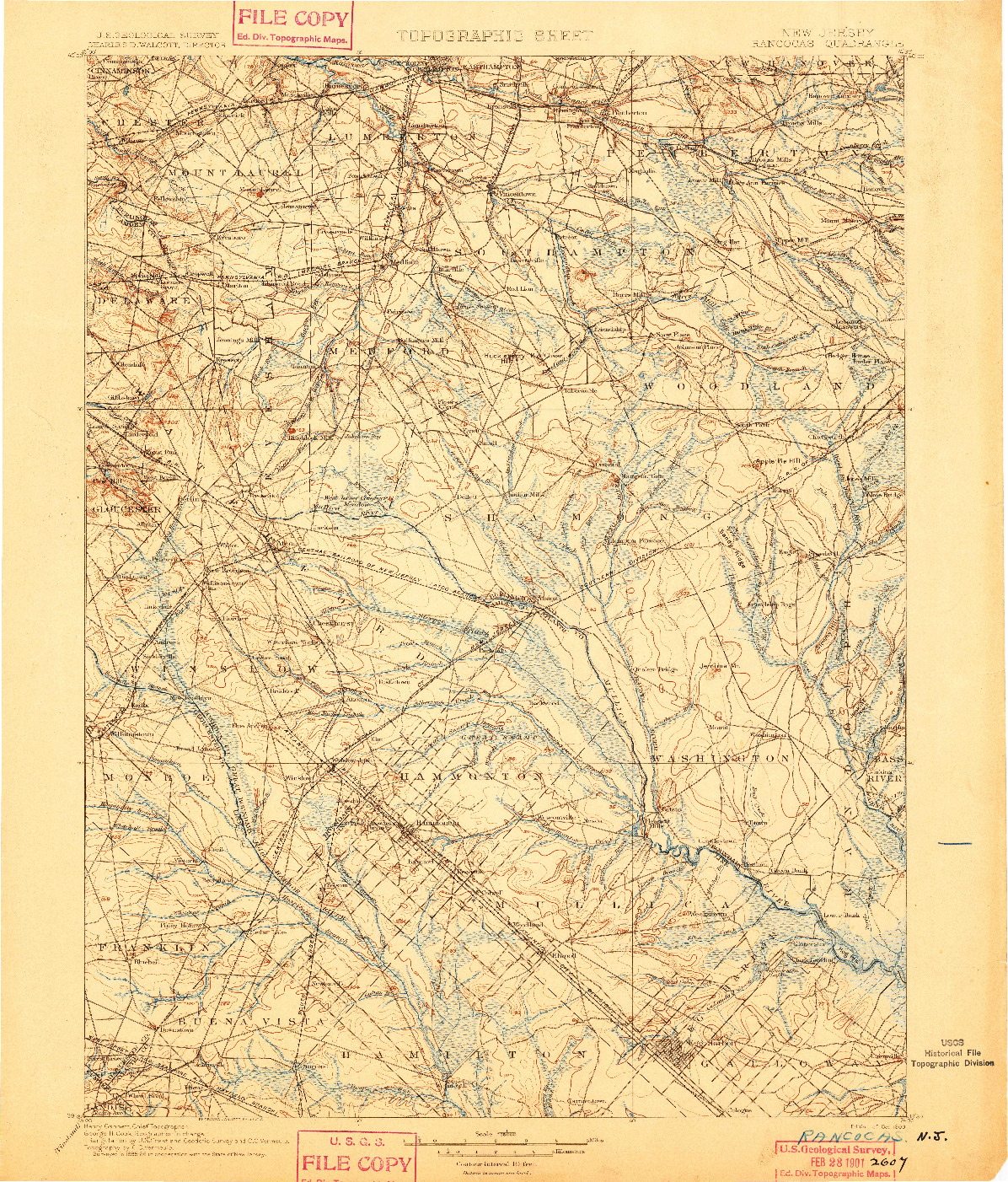 USGS 1:125000-SCALE QUADRANGLE FOR RANCOCAS, NJ 1900