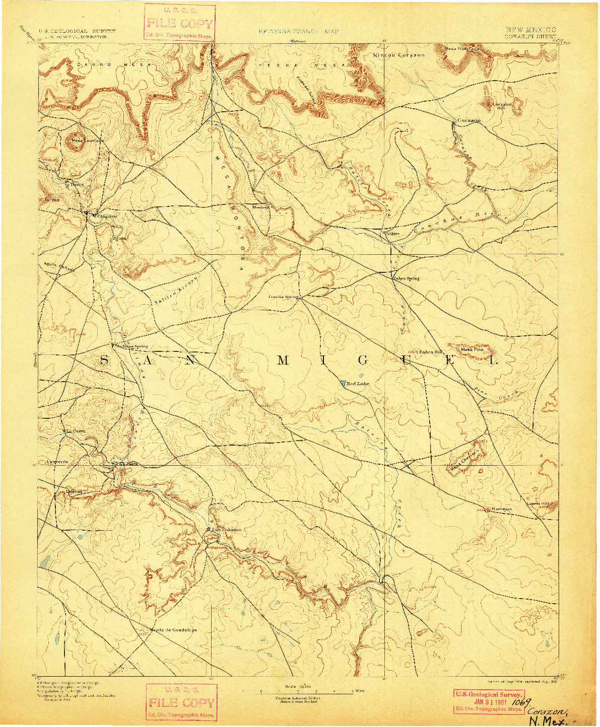 USGS 1:125000-SCALE QUADRANGLE FOR CORAZON, NM 1894