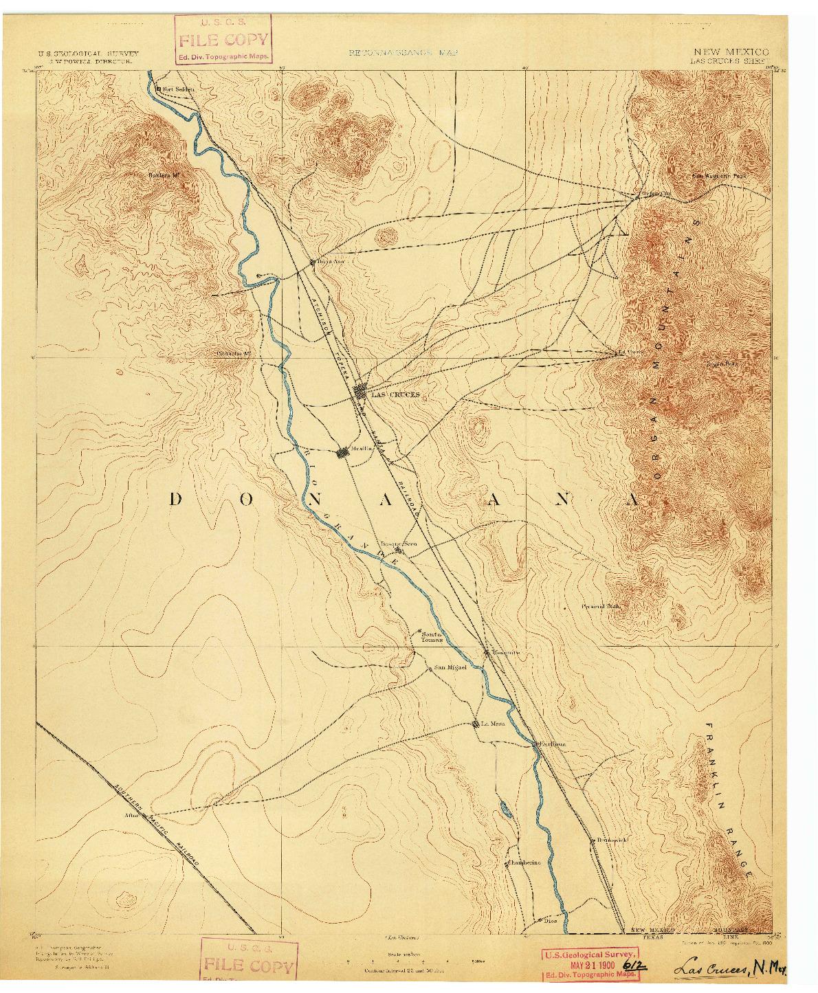 USGS 1:125000-SCALE QUADRANGLE FOR LAS CRUCES, NM 1893